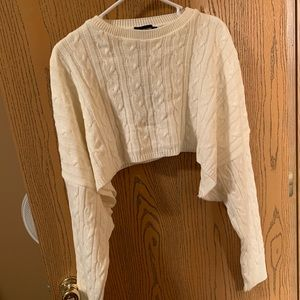 Pretty little thing cropped white knit